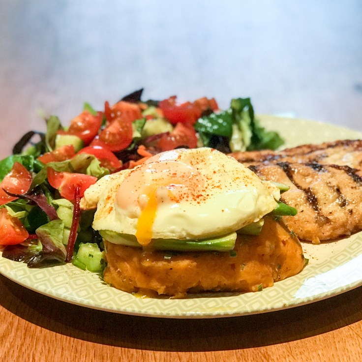 Sweet Potato Cake, Runny Eggs and Chicken Salad