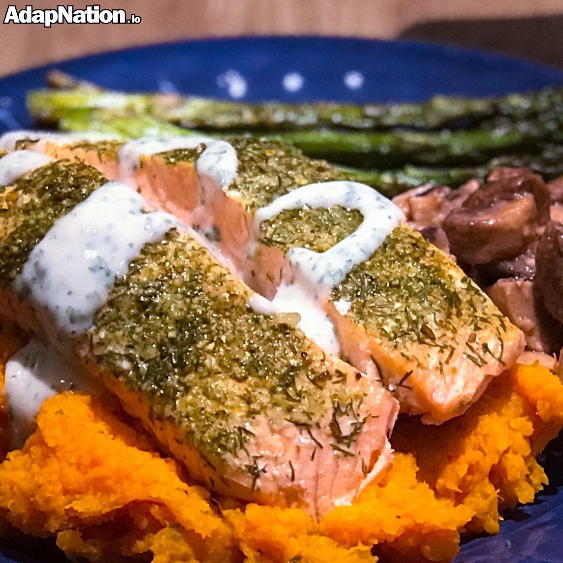 Salmon, Sweet Potato Mash, Mushrooms & Crispy Asparagus