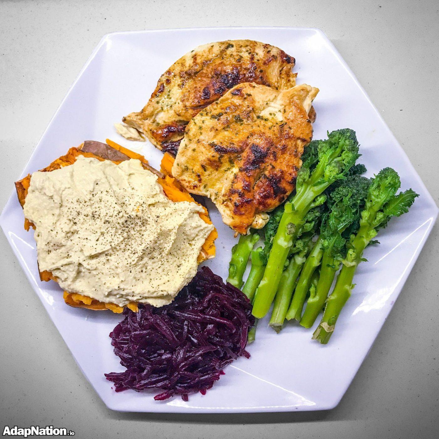 Chicken, Sweet Potato, Hummus, Beetroot and Broccoli