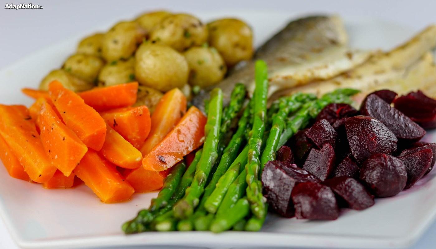 Sea Bass, New Potatoes & Tasty Super Veg