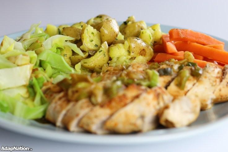 Ginger Chicken, Crushed New Potatoes & Veg