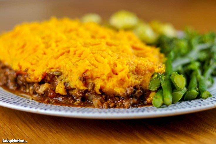 Sweet Potato Cottage Pie & Veggies