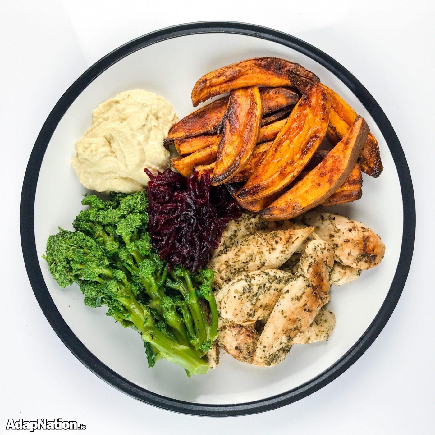 Chicken, Sweet Potato Wedges, Hummus & Veg