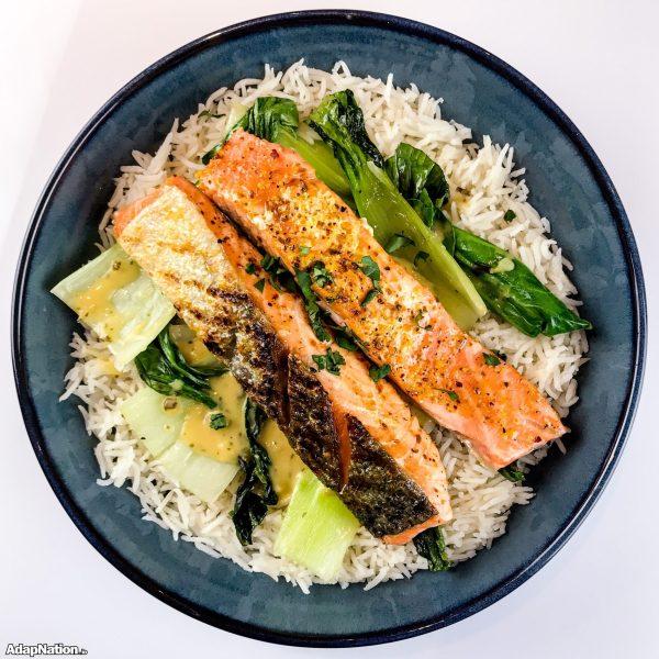 Coconut Chilli Salmon, Pak Choy & Basmati Rice