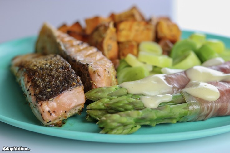Salmon, Panchetta Wrapped Asparagus & Sweet Potato Mini Roasties