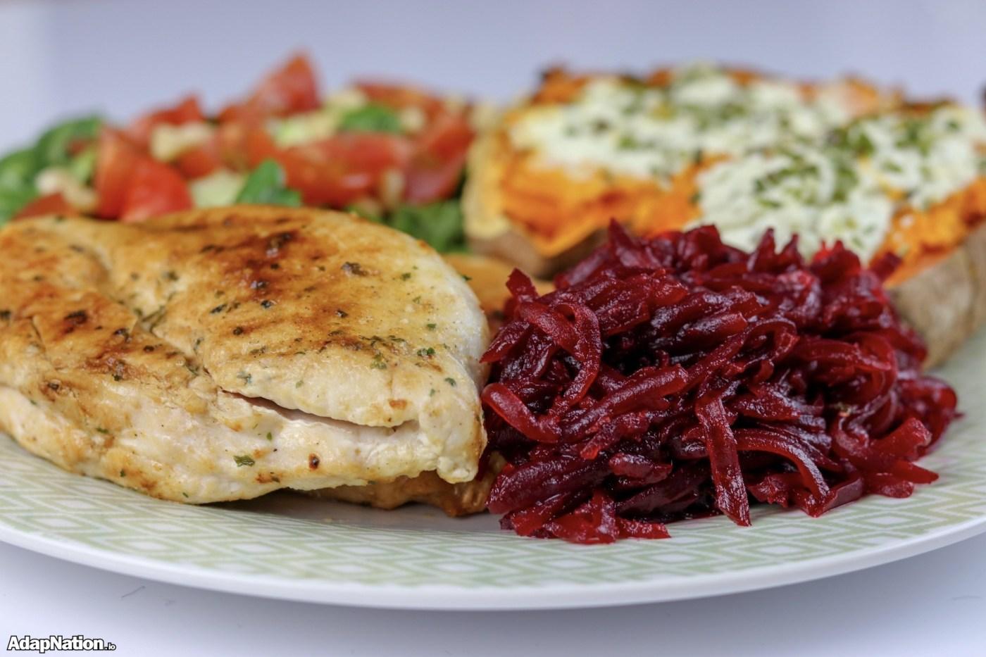 Pan Fried Chicken, Loaded Sweet Potato Jacket, Salad & Smoky Beetroot