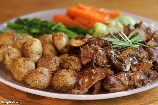 Slow Roast Lamb, New Potatoes & Tender Veg