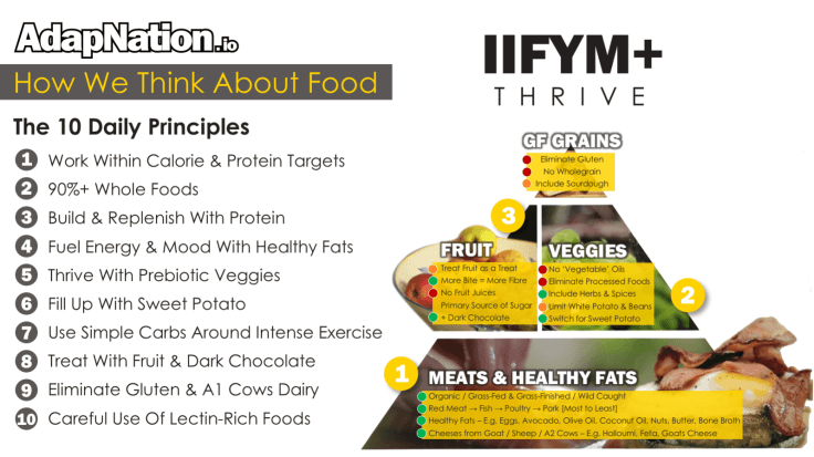 AdapNation IIFYM+ Thrive Food Pyramid and Principles
