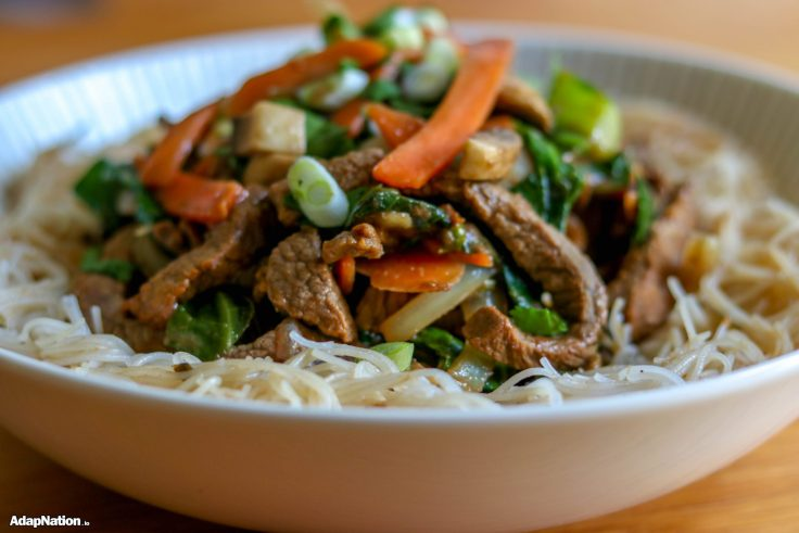 Post-Workout Beef Stir Fry & Rice Noodles