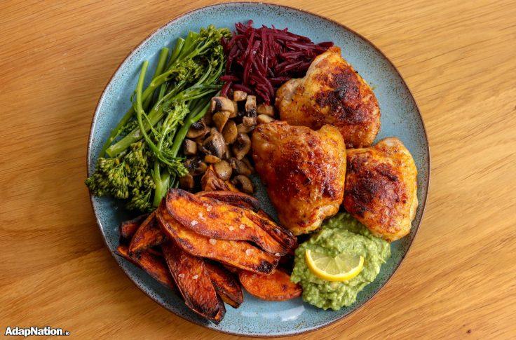 Roast Chicken Thighs, SP Wedges, Homemade Guac & Superveg p3