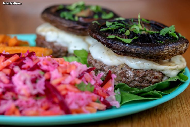 Home-Made Cali Burgers, Beetroot Coleslaw & SP Fries Feature