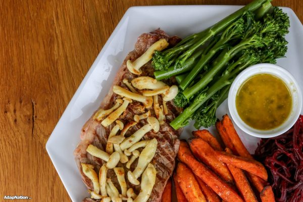 Steak & Sweet Potato Chips, with Exotic Mushrooms and Super Veg