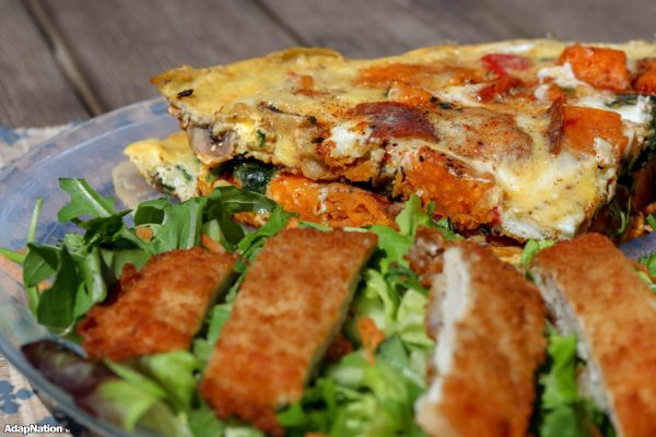 Loaded Sweet Potato Frittata & Chicken Salad