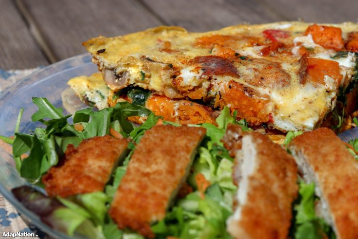 Loaded Sweet Potato Frittata & Chicken Salad