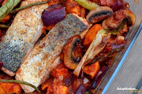 Michelle's Spicy Salmon & Sweet Potato Bake