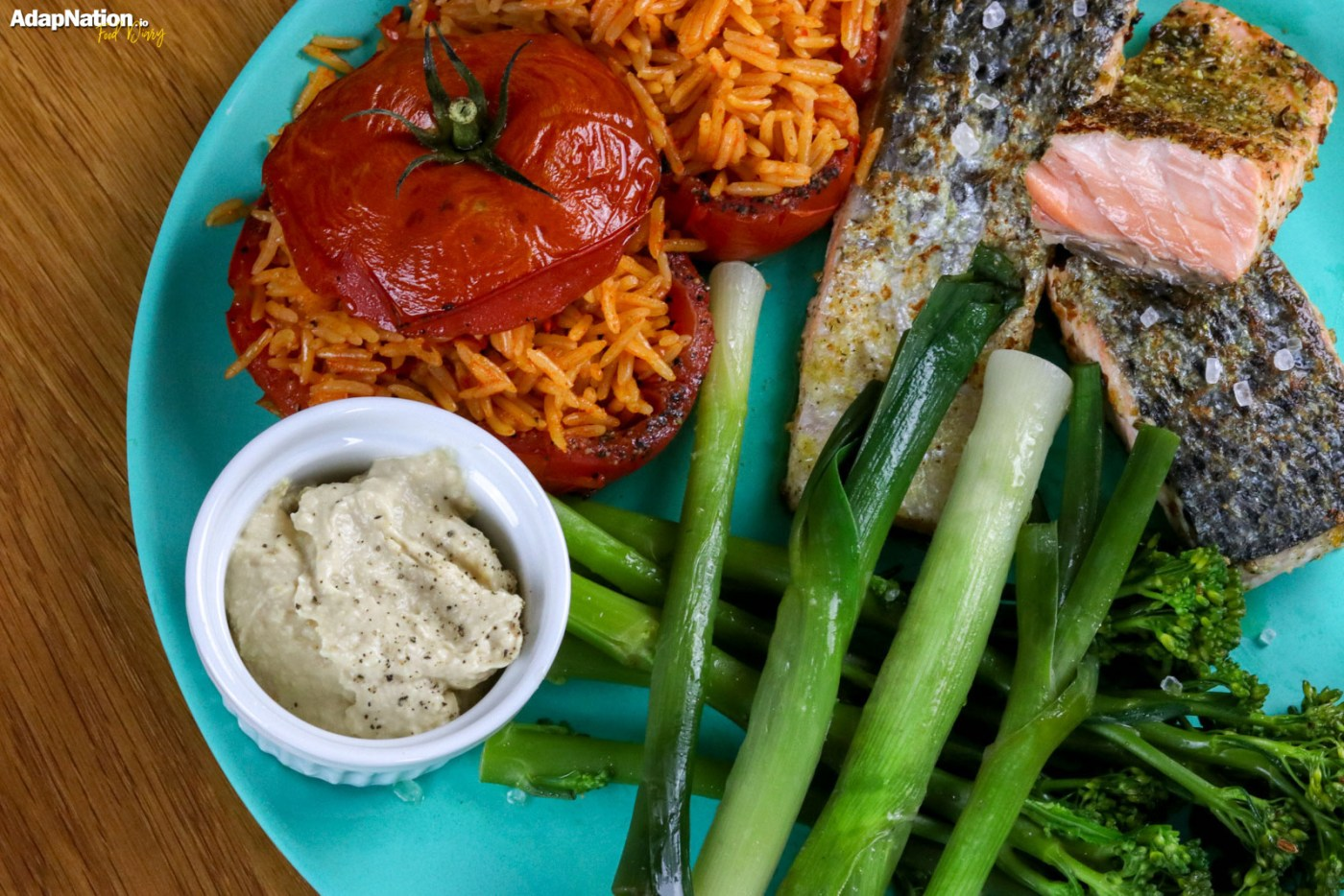 Stuffed Tomatoes, Pan Fried Salmon & Tender Veg
