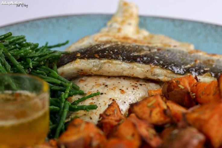 Pan Fried Sea Bass, Samphire & Sweet Potato Mini Roasties p3