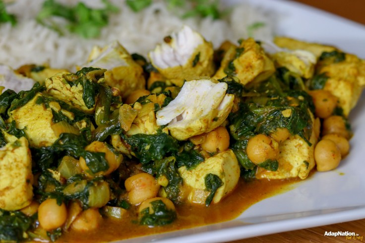 Spicy Coconut, Spinach & Chickpea Chicken Curry