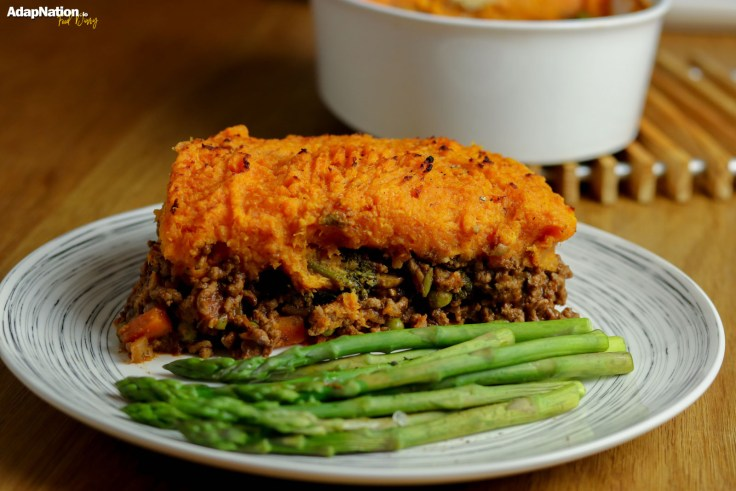 Sweet Potato Cottage Pie with Asparagus