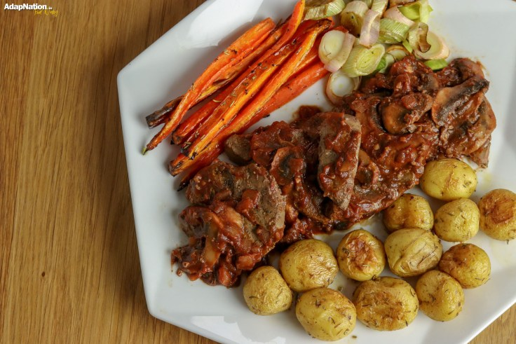 Lambs Liver in Tomato & Mushroom Sauce, with Sweet & Crispy Veg  p3
