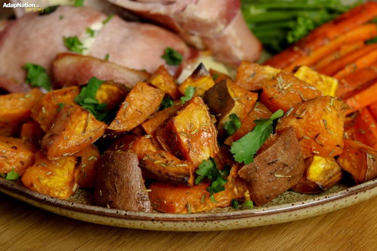 Bacon-Wrapped Mozzarella Chicken with Sweet Potato Roasties and Tender Veg p3