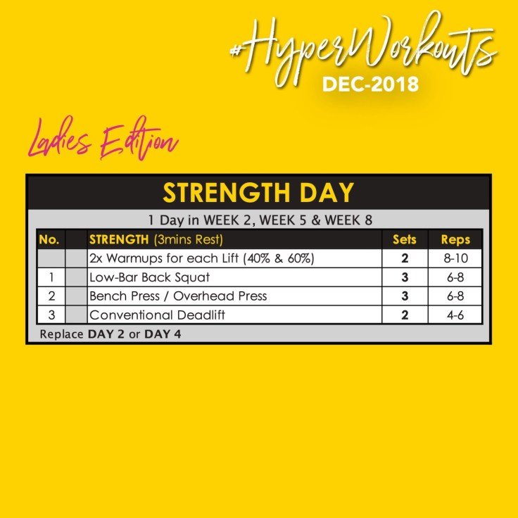 Ladies DEC-18 #HyperWorkouts Training Programme Strength