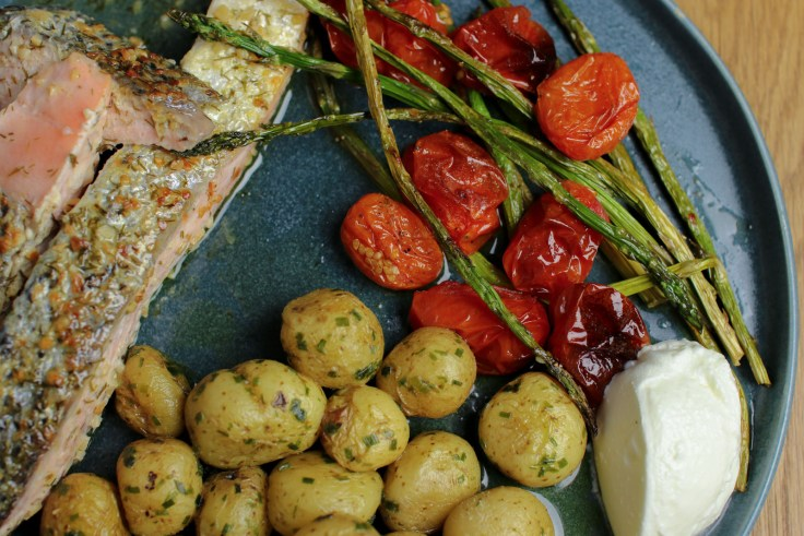 Pan-Fried Salmon, Buttery New Potatoes and Baked Asparagus & Cherry Tomatoes