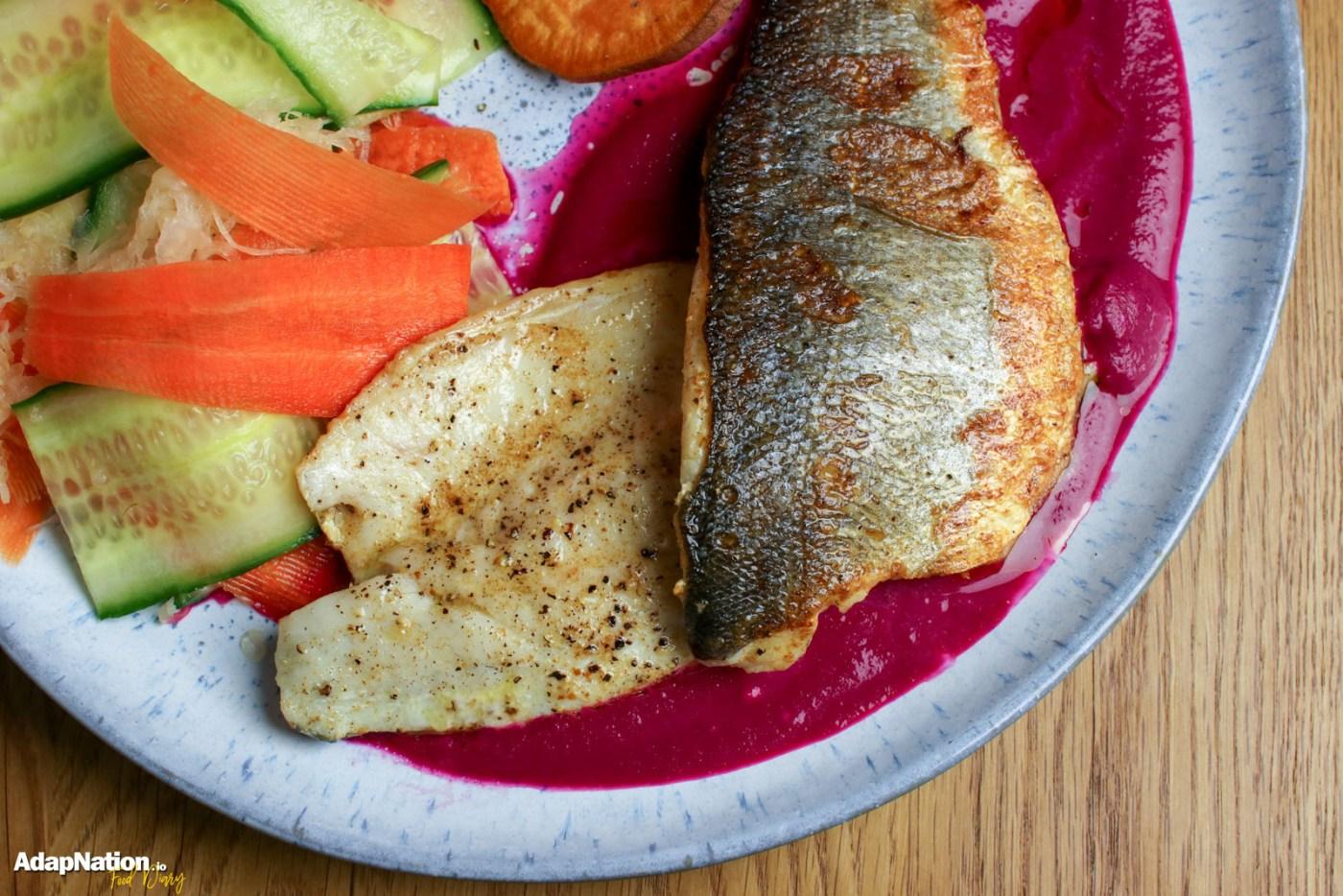 Pan Fried Sea Bass, Beetroot Purée, Sweet Potato Crisps & Pickled Veg