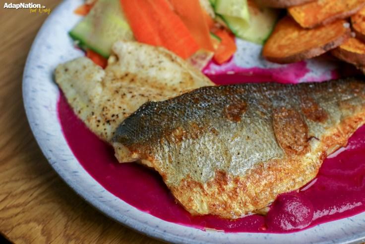 Pan Fried Sea Bass, Beetroot Purée, Sweet Potato Crisps & Pickled Veg p2