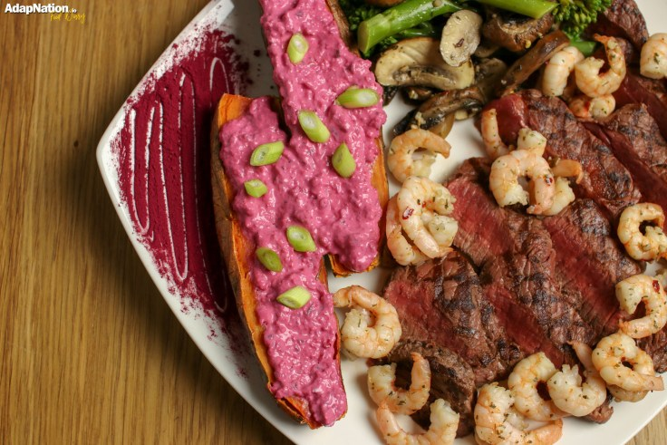 Healthy Surf and turf sweet potato