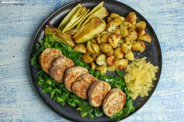 Pork Medallions with Apple Sauce, New Potatoes & Roasted Fennel p3