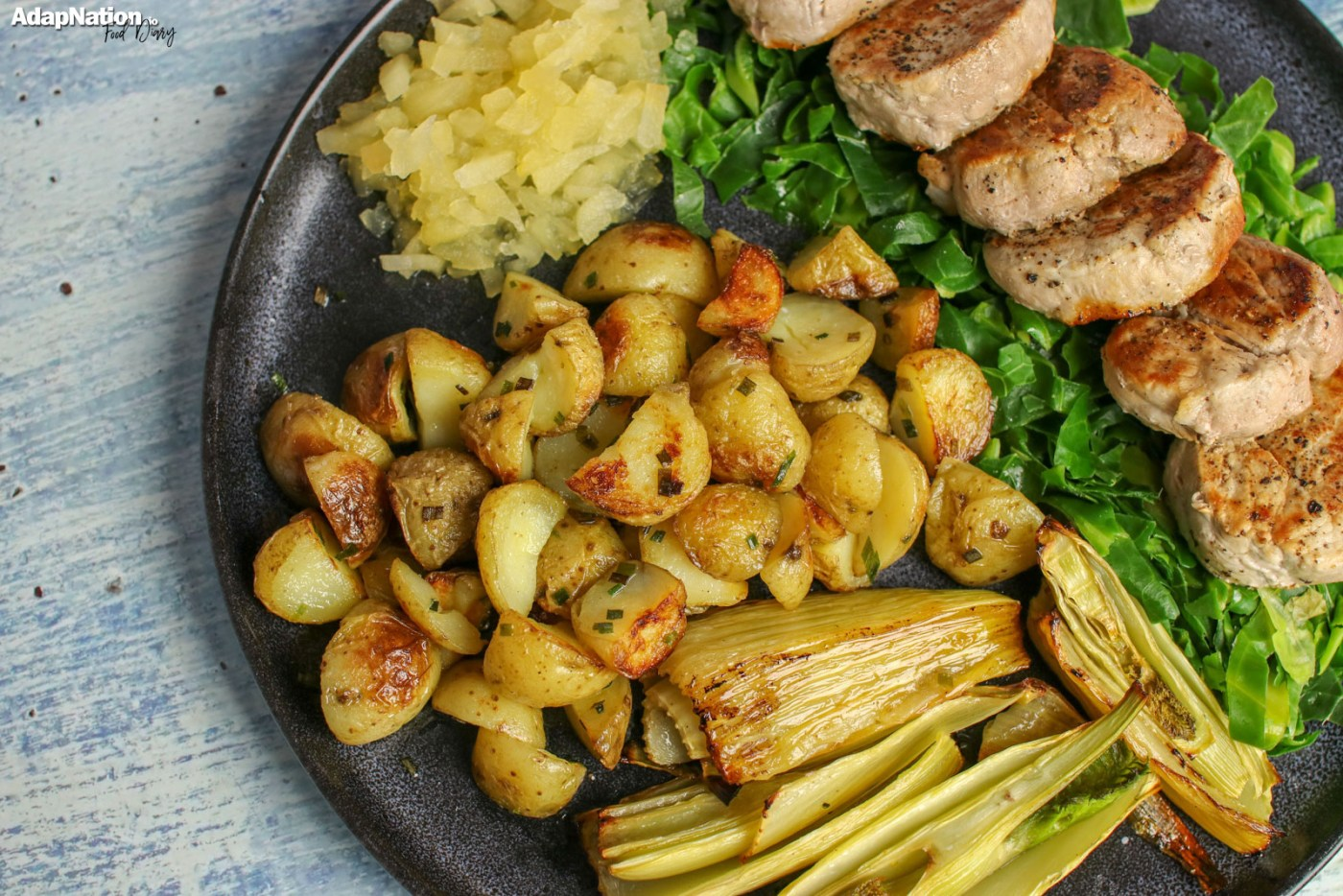 Pork Medallions with Apple Sauce, New Potatoes & Roasted Fennel