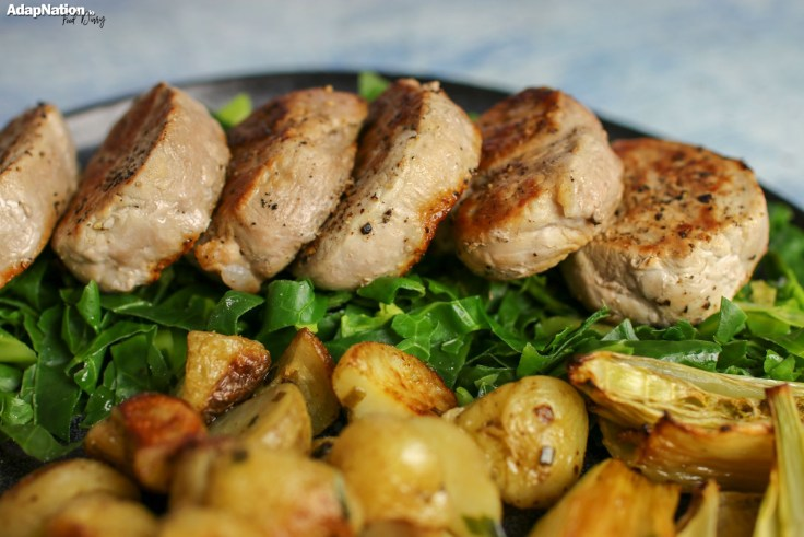 Pork Medallions with Apple Sauce, New Potatoes & Roasted Fennel 2