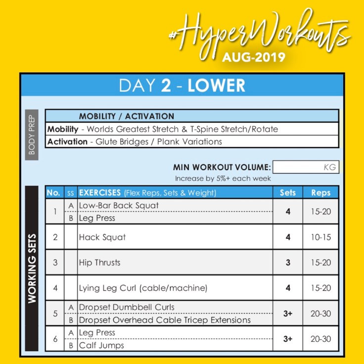 AUG-19 #HyperWorkouts DAY 2 - Weight Lifting Gym Workout Plan & Gym Program