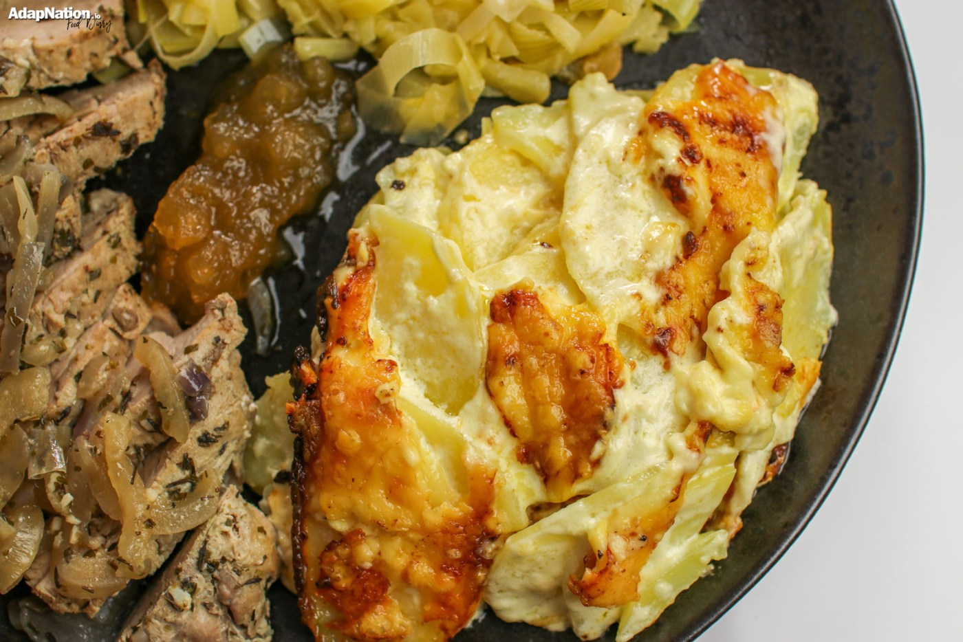 Pork Fillet, Cheesy Dauphinois Potatoes & Apple-Infused Leeks