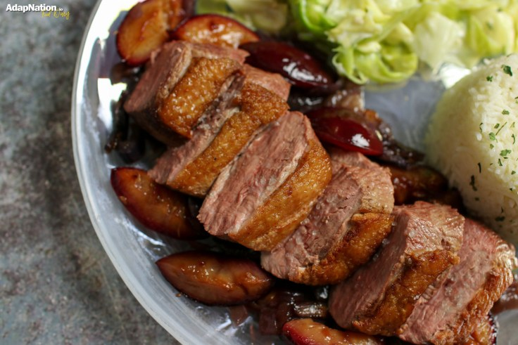 Duck Breast with Sweet Red Onion & Roasted Plum Sauce, Creamy Cabbage and Rice