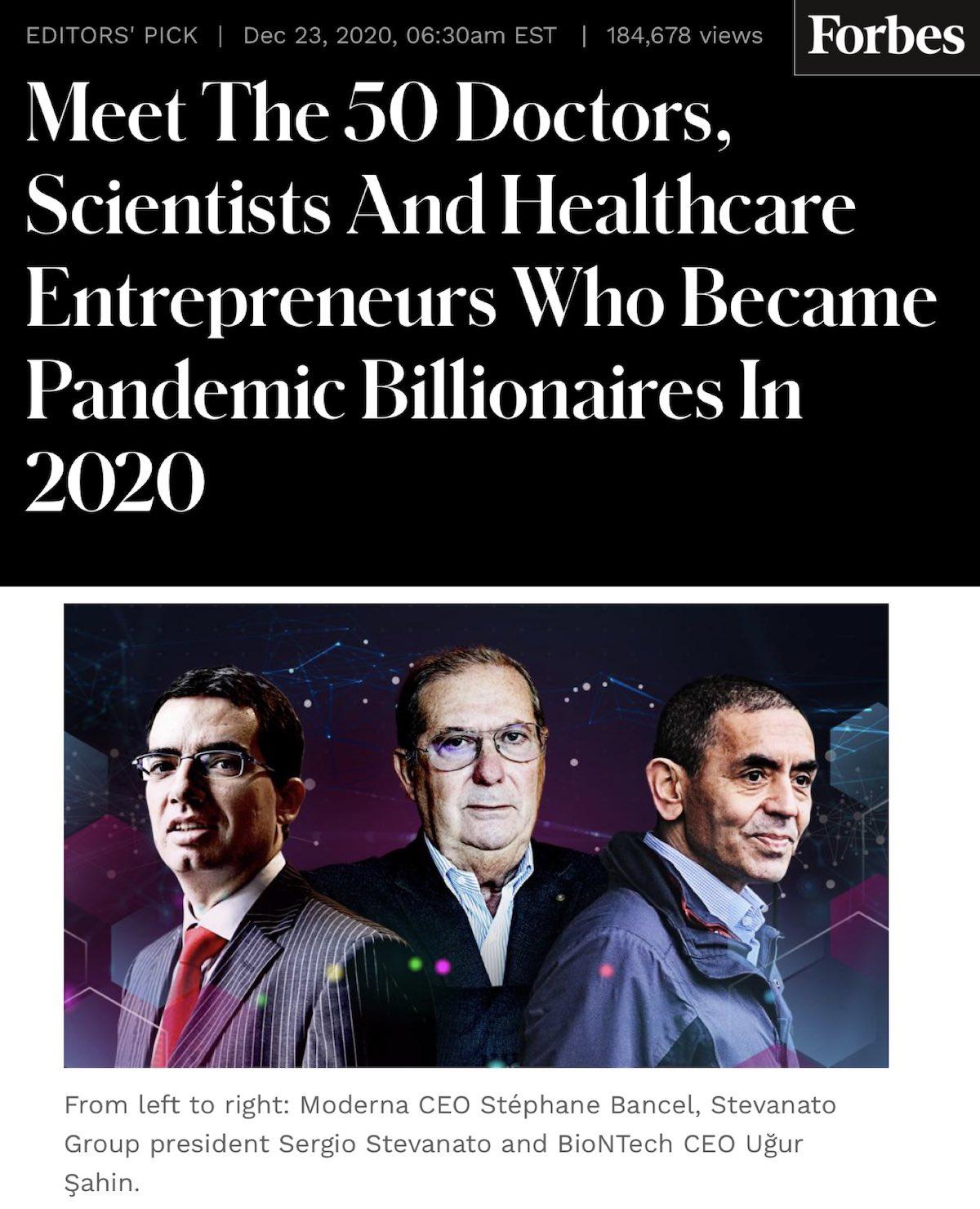 New COVID Medical Billionaires