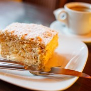 Slice of cake and a cup of tea