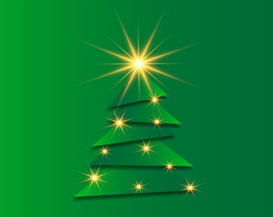Drawing of a Christmas Tree on green background