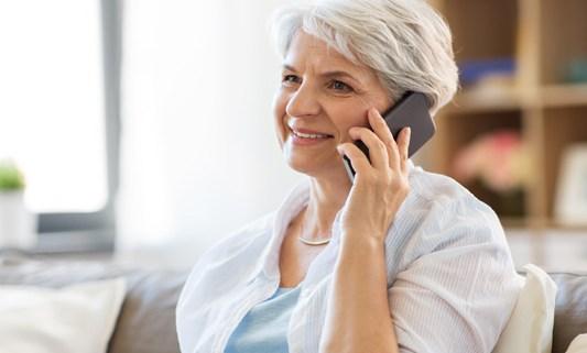 older lady on phone