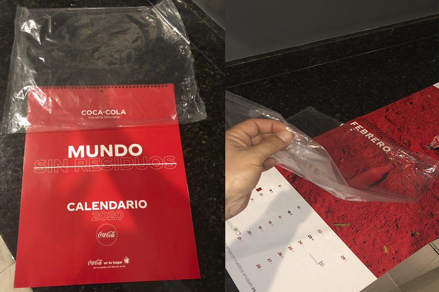 COCA COLA CALENDAR DELIVERED IN ONE USE PLASTIC BAG ADAPT ADVANCED PLASTICS