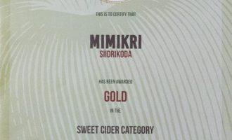 MIMIKRI_ICC_2017_GOLD-Medal-ertificate Pilt-siidrikoda.ee