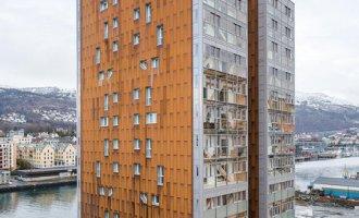 Kodumaja poolt ehitatud 14-korruseline kortermaja Norras FOTO Maris Tomba