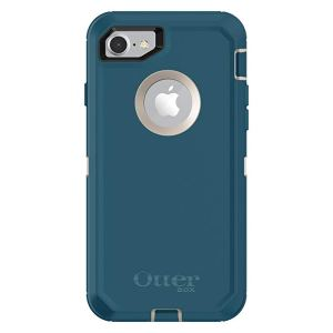 An iphone in a turquoise case. The case has a cutout to show the camera, and another to show the apple logo on the back of the phone.