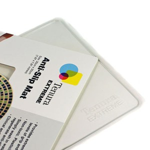 The clear tenura extreme grip adhesive mat in its packaging