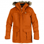 This image shows the FJÄLLRÄVEN Yupik Parka Winter jacket. It is an orange parka with a brown fur hood