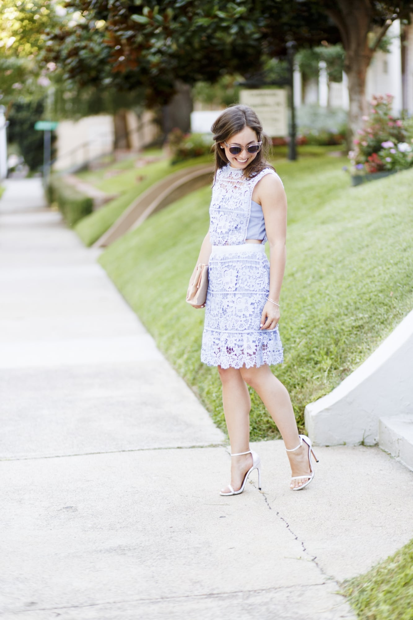 Lace Cutout Dress and Stuart Weitzman Nudist Heels