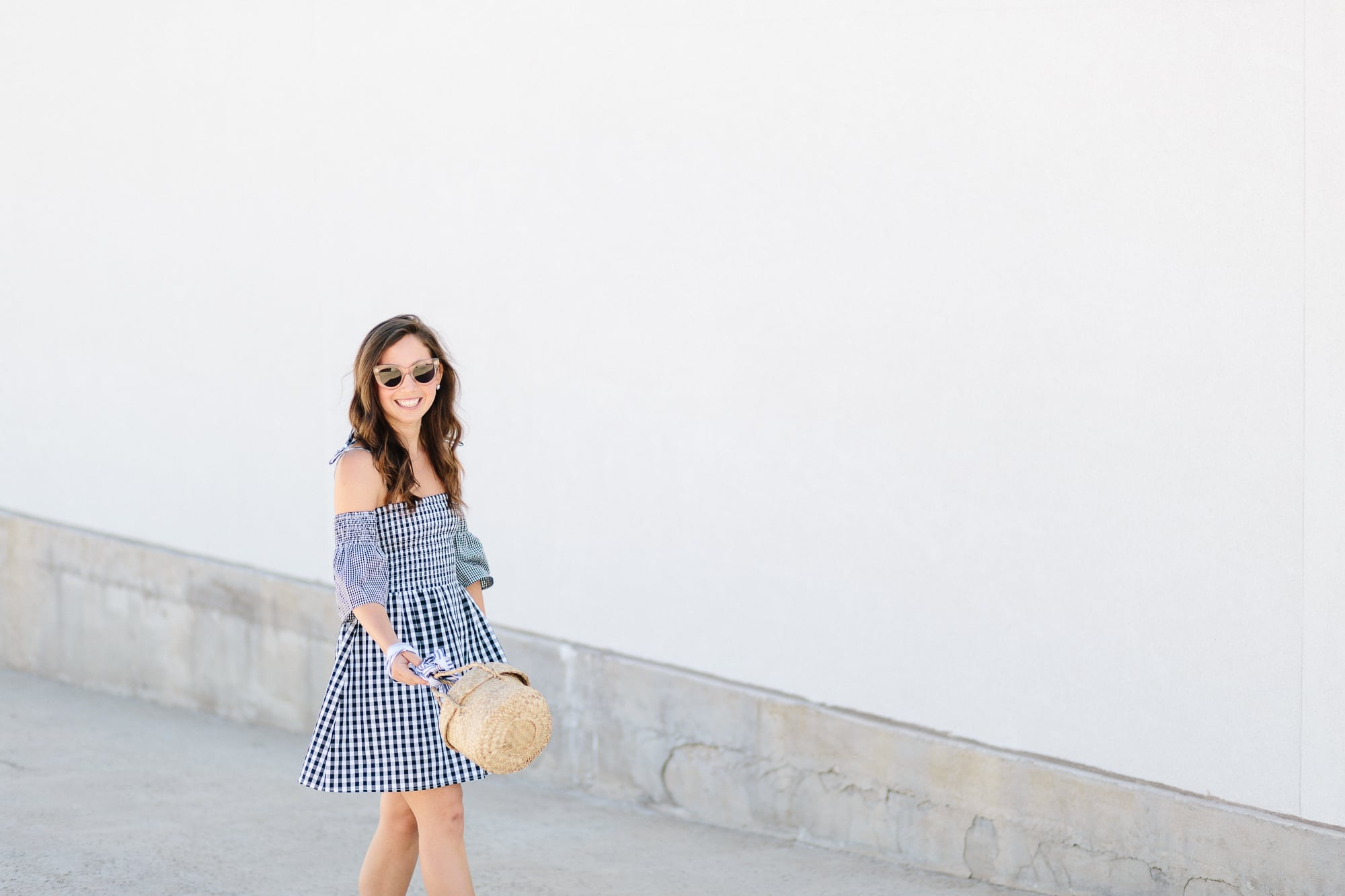 Vetvier Gingham Dress with Doen Bag