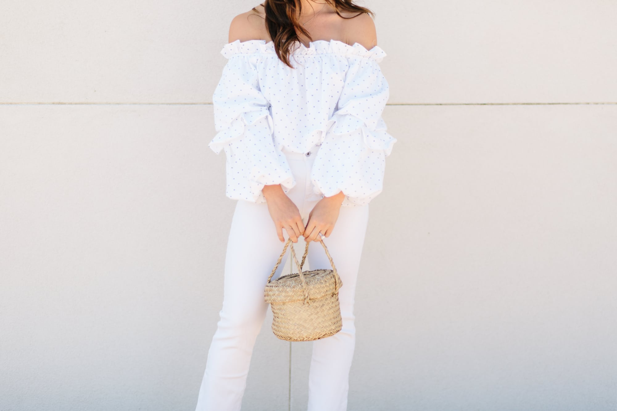 White Off the Shoulder and Basket Bag