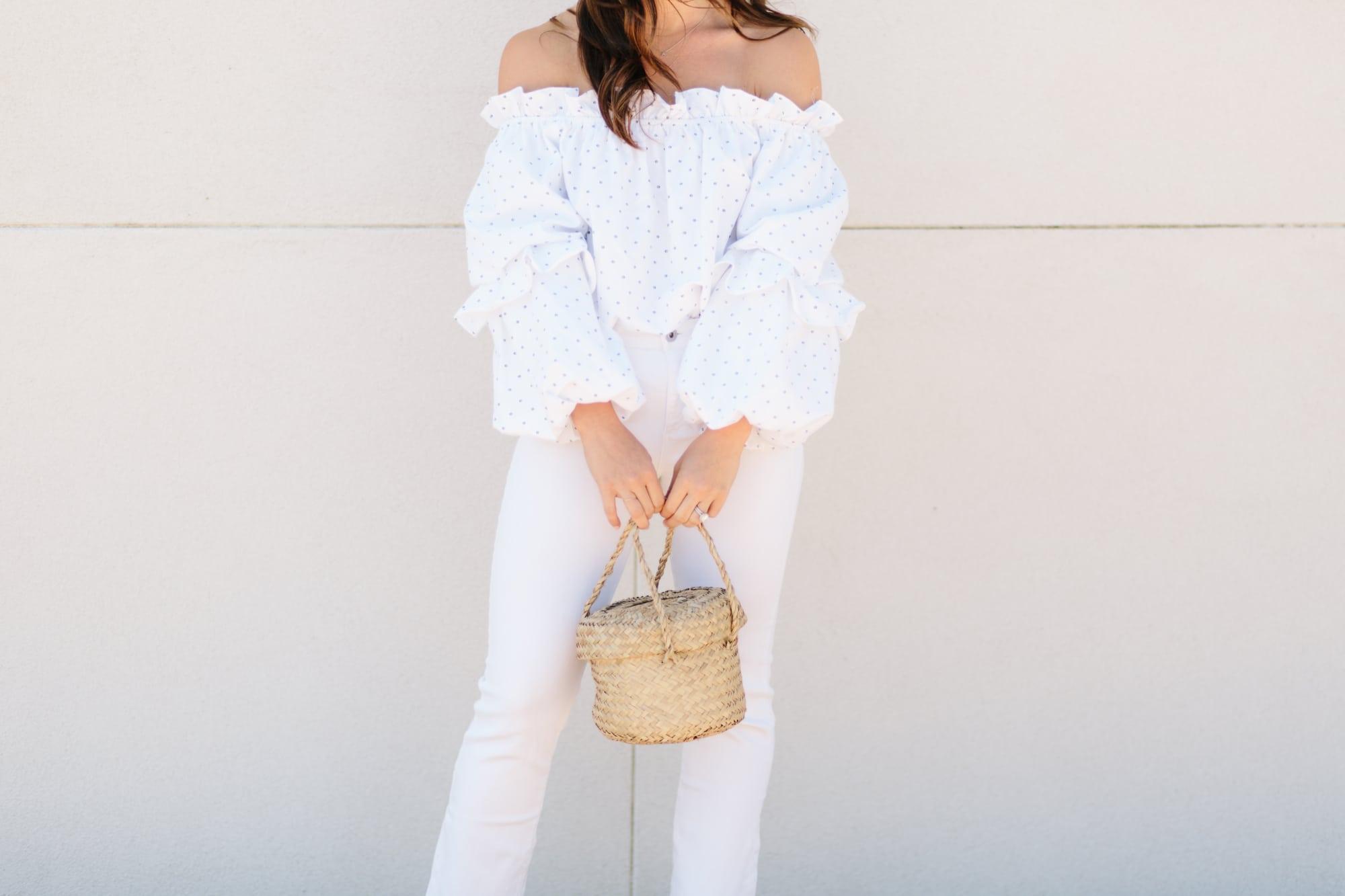 White Off the Shoulder and Basket Bag